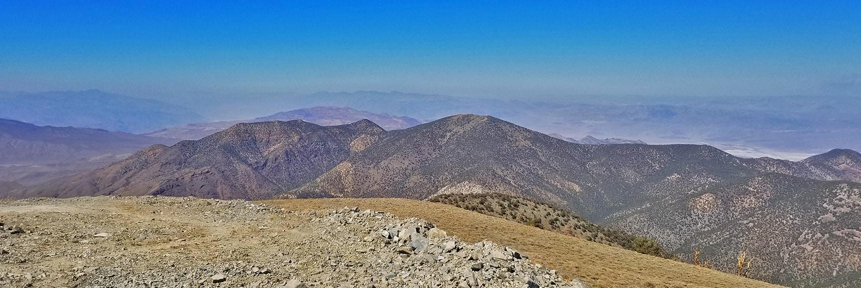 Wildrose Peak Viewed from Rogers Peak Summit   Telescope Peak Summit from Wildrose Charcoal Kilns Parking Area, Panamint Mountains, Death Valley National Park, California