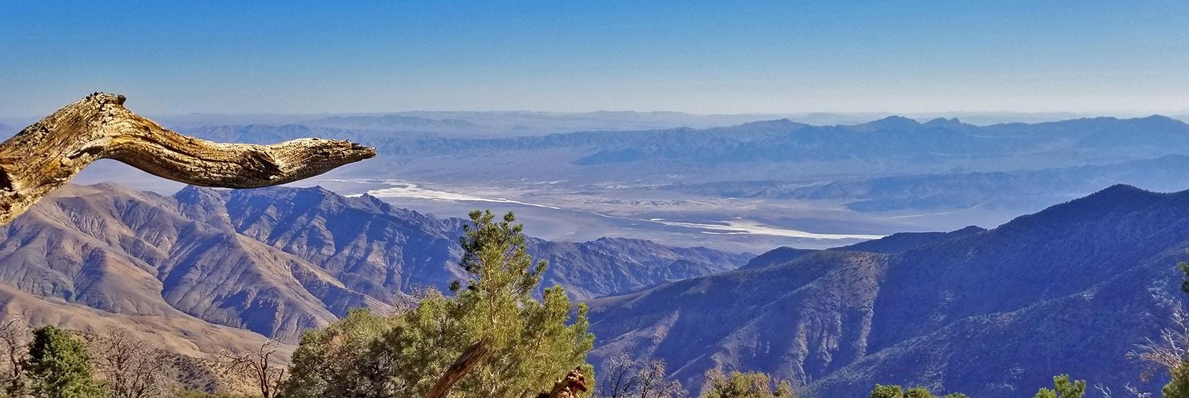 Death Valley (Furnace Creek Area Center) from Wildrose Peak Summit Ascent   Wildrose Peak   Panamint Mountain Range   Death Valley National Park, California
