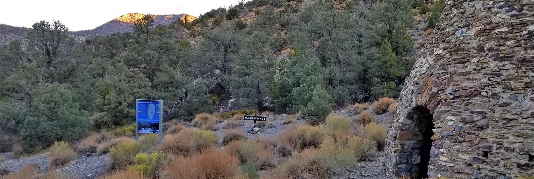 Wildrose Peak Trailhead at Left End of Wildrose Charcoal Kilns   Wildrose Peak   Panamint Mountain Range   Death Valley National Park, California