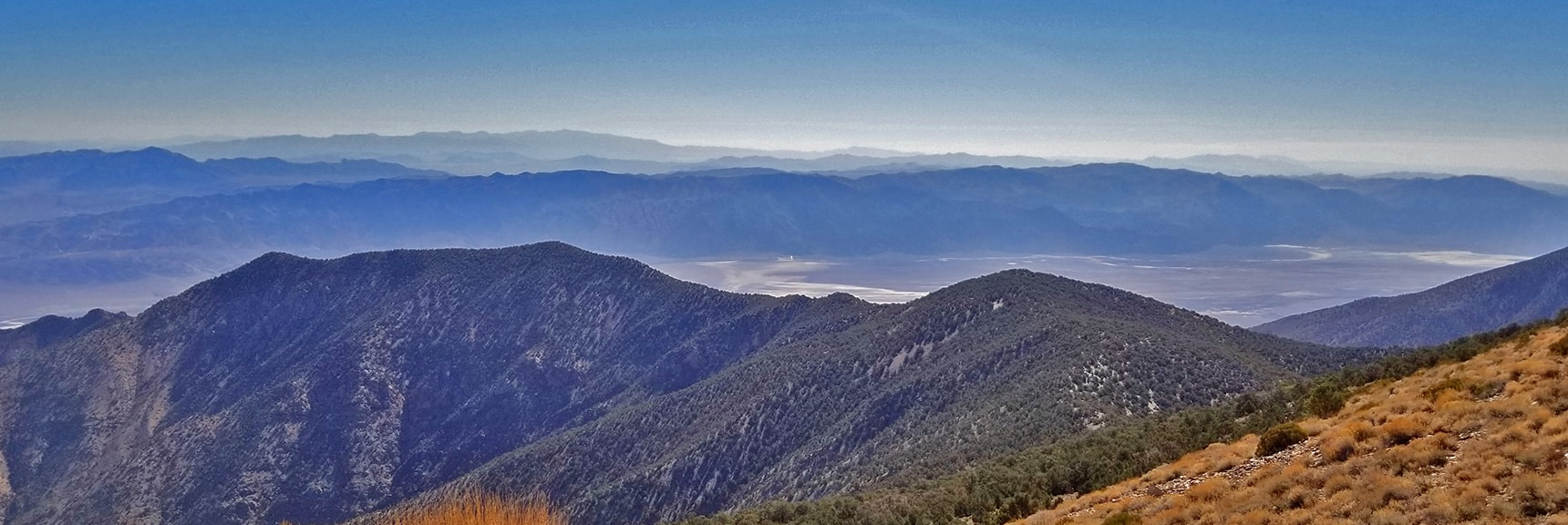 View Southeast Toward Death Valley Badwater and Mt. Charleston Wilderness   Wildrose Peak   Panamint Mountain Range   Death Valley National Park, California