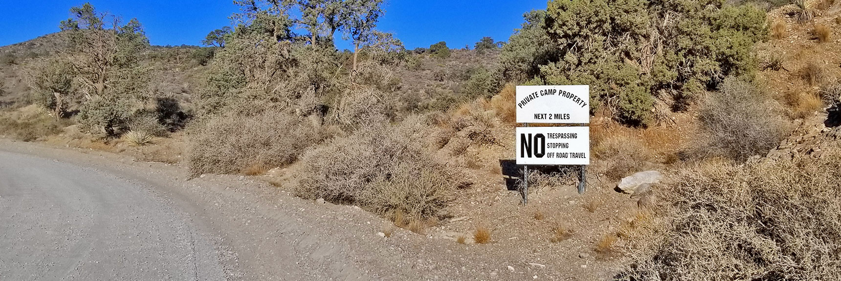 2-mile Private Property Stretch: Bronco Off-Roadeo and Methodist Camp   Potosi Mountain Northwestern Approach, Spring Mountains, Nevada