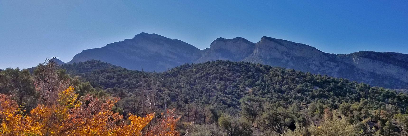 Potosi Mountain Summit Cliffs from Potosi Canyon Road   Potosi Mountain Northwestern Approach, Spring Mountains, Nevada