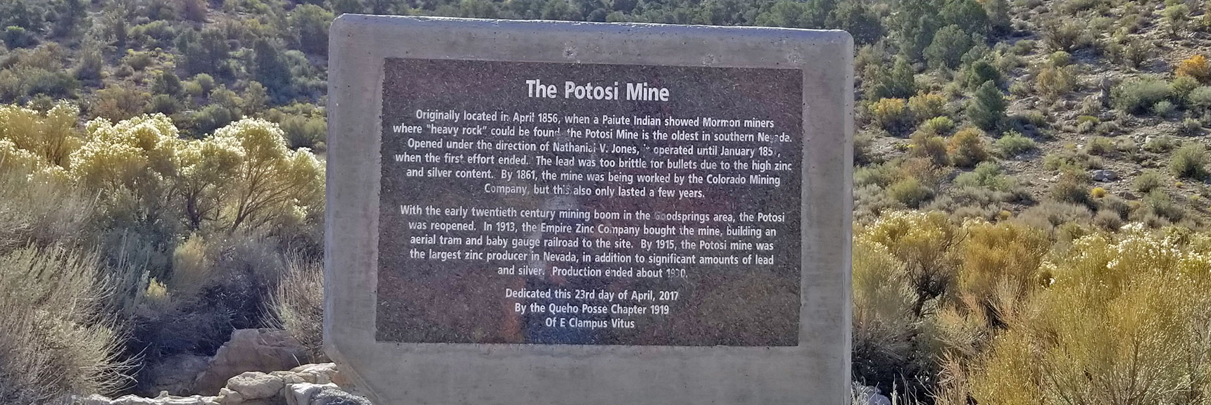 Potosi Spring Area: Old Potosi Mine Site Interpretive Sign   Potosi Mountain Northwestern Approach, Spring Mountains, Nevada