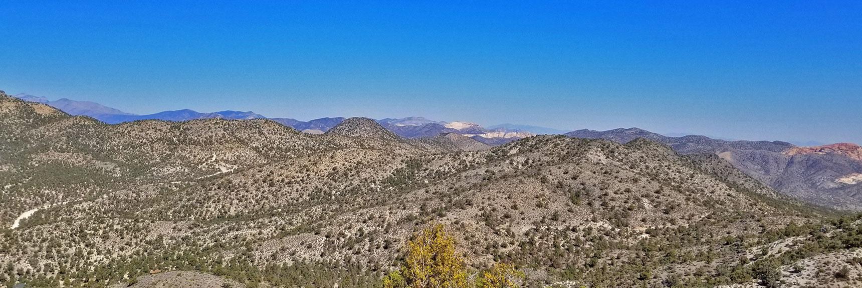 View from Summit Approach Ridge to Rainbow Mountains Wilderness Area   Potosi Mountain Northwestern Approach, Spring Mountains, Nevada